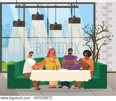 Friends Are Sitting In Club At A Table Eating And Drinking Or At A Restaurant With Loft Interior Sty