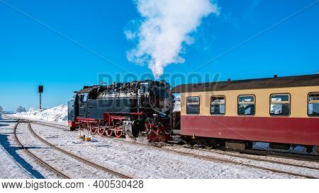 Harz National Park Germany, Steam Train On The Way To Brocken Through The Winter Landscape, Famous S