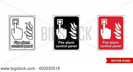 Fire Fighting Sign Fire Alarm Control Panel Icon Of 3 Types Color, Black And White, Outline. Isolate