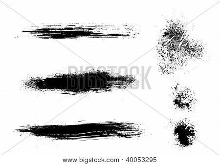 Splatter ink vector grunge elements. Good for brushes in vector or raster programs too. poster