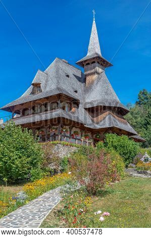 Buildings In The Barsana Monastic Complex, Maramures, Romania. The First Wooden Church Was Built In