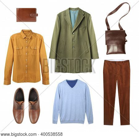 Male Garment Set Isolated On White.fashion Autumn Clothes Collage.men's Wear Collection,colorful App
