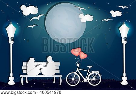 Couple Sitting On A Bench In The Park In Love Atmosphere. Valentine's Day Card With Romantic Couple