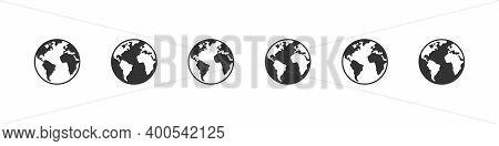 Earth Icons. World International Earth Globe Icon Set. Linear Style. Vector Illustration