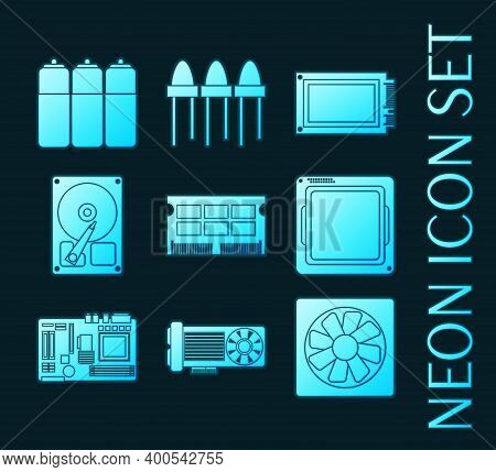 Set Of Electronic Parts Blue Glowing Neon Icons