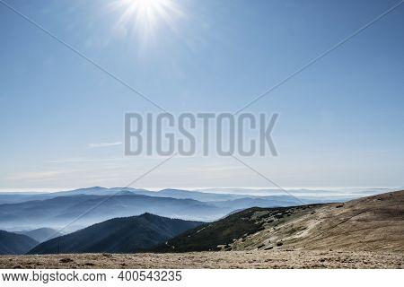 Natural Scenery With Sunrays From Low Tatras Mountains, Slovak Republic. Hiking Theme. Seasonal Natu