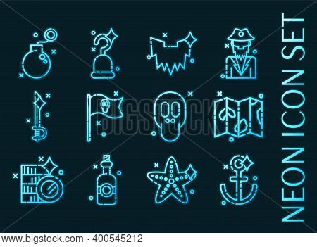 Piracy Set Icons. Blue Glowing Neon Style.