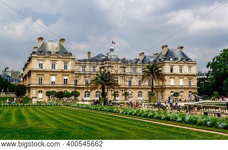 Paris, France - May 24, 2018 : Luxembourg Palace And Park In Paris, The Jardin Du Luxembourg, One Of