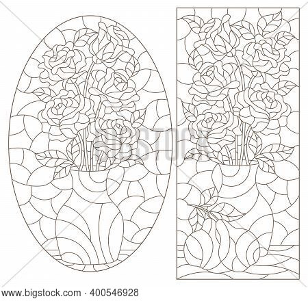 Set Of Contour Illustrations In Stained Glass Style With Floral Still Lifes, Dark Contours On A Whit