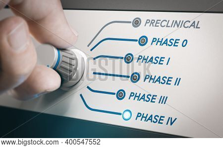 Hand Turning Knob To Select Phases Of Vaccine Clinical Trial. Focus On Postmarketing Surveillance St