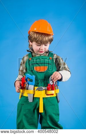 Repairman Kid. Little Kid In Builder Uniform With Repair Tools. Building Game. Kid Repairman With To