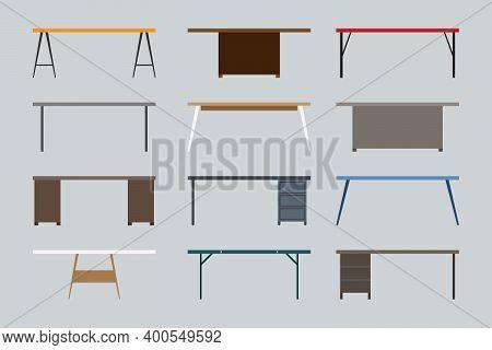 Modern, Contemporary, Loft, Cartoon Flat Style Business Office Table Vector Illustration Set. Wooden