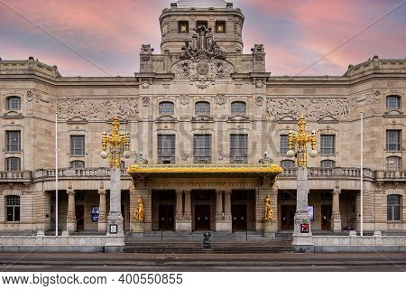 Stockholm, Sweden - December 1, 2020: Winter Sunset Facade View Of The Famous Historical Art And The