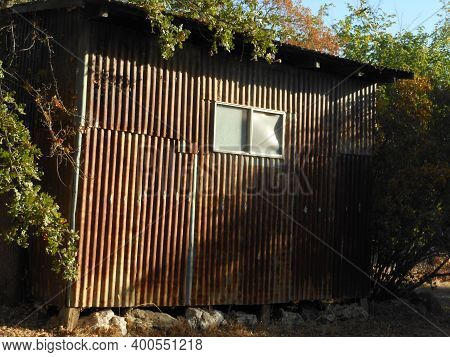 Wooden Shed With Small Window And Overhanging Branches In Plymouth,california