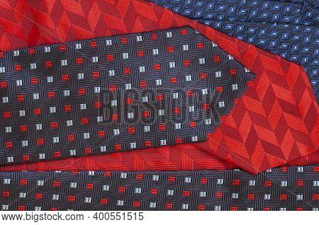 Set Of Different Silk Neckties, Stylish Men Accessories, Neckties Top View, Flat Lay. Concept Of Fat