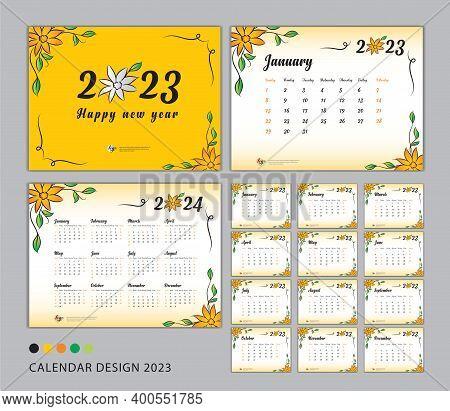 Desk Calendar 2023 Template Set, Flower Concept, Calendar 2023-2024, Happy New Year 2023 Year, Wall