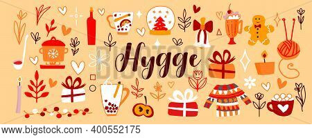 Vector Cute Illustrations For Warm And Cozy Hugge Design. Mulled Wine, Gifts, Cocoa, Warm Red And Ye