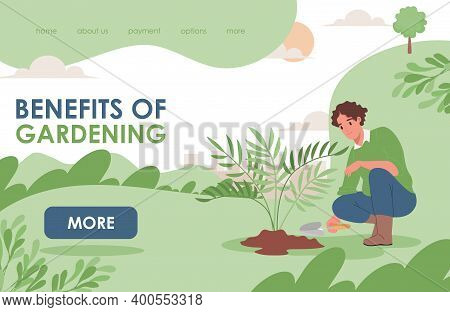Benefits Of Gardening Landing Page Template With Text Space. Happy Smiling Man In Casual Clothes Wor