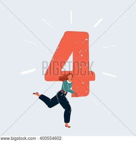 Vector Illustration Of Woman Run With Big Number 4 Four Sign On White Backgound.