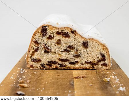 Christmas Stollen Cutaway Isolated On White Background.