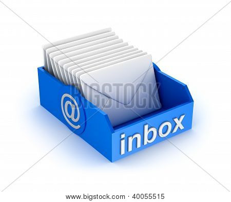 Inbox mail icon with letters. isolated on white