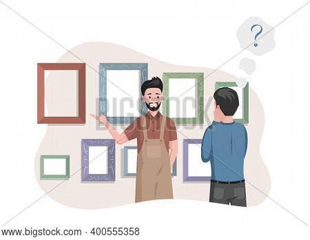 Man In Apron Selling Frames For Pictures In Art Studio Or Paintings Shop Vector Flat Illustration. M