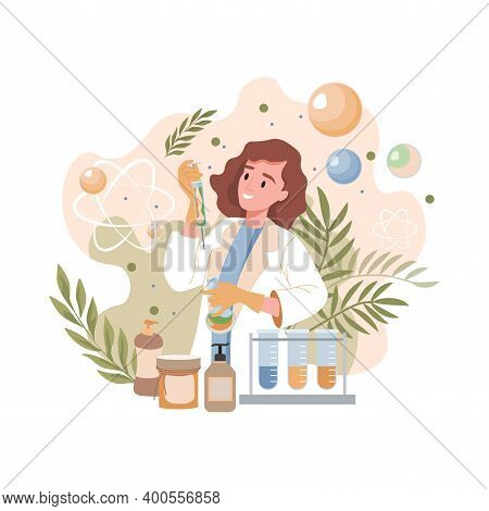 Scientist Or Pharmacist Invents Natural Organic Formula Of Cosmetics Vector Flat Illustration. Young