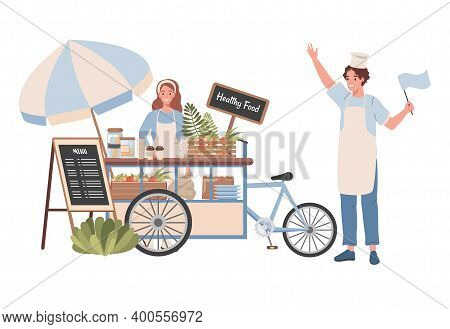 Street Cart With Healthy Food And Beverages Vector Flat Illustration. Happy Woman Selling Healthy Na