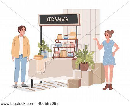 Ceramics Shop Vector Flat Illustration. Happy Man In Casual Clothes Choosing And Buying Bright Ceram