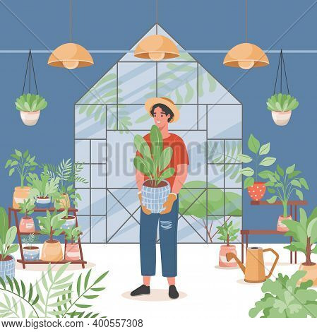Flower Shop Interior Vector Flat Design. Happy Smiling Man In Casual Clothes Holding Pot And Selling