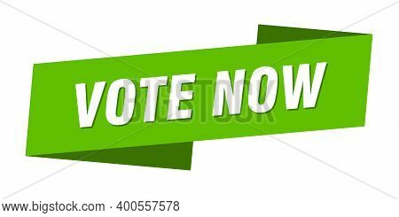 Vote Now Banner Template. Vote Now Ribbon Label Sign