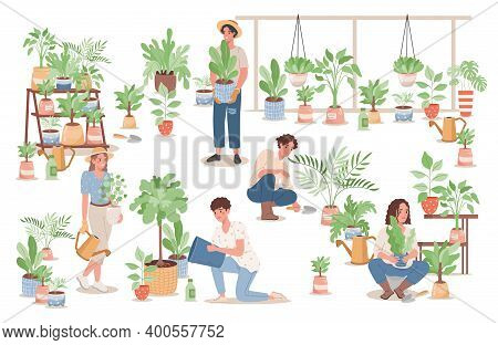 Group Of Happy Young People Taking Care Of Home Plants Vector Flat Illustration. Men And Women In Ca