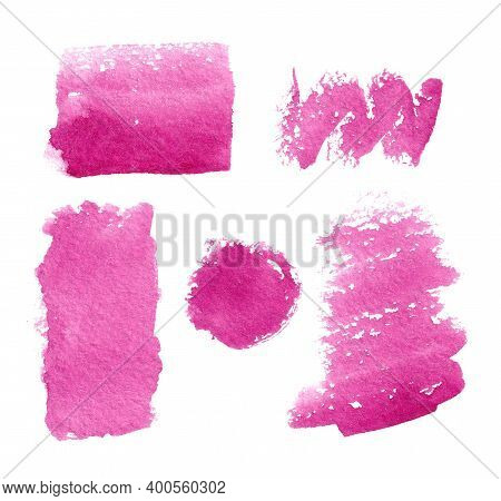 Set Of Pink Watercolor Spots On A White Background. Isolated Pink, Fuchsia, Purple Spots.