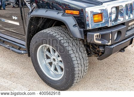 Samara, Russia - May 18, 2019: Close Up View Of Hummer Vehicle Wheel With Tire On Light Alloy Disc