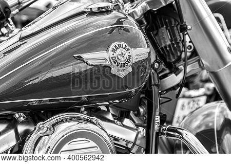 Samara, Russia - May 18, 2019: The Emblem On The Fuel Tank Of Harley Davidson Motorcycle Close-up