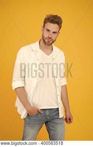 Reached Privileged Position. Sexy Macho Man. Formal Fashion. Formal Style. Clothes Shop. Attractive