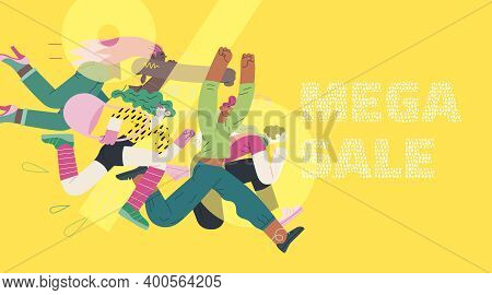 Discounts, Sale, Promotion - Modern Flat Vector Concept Illustration Of People Crowd Running In The