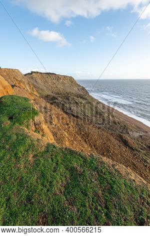 View Of A Landslide On The South West Coastpath Between West Bay And Eype In Dorset