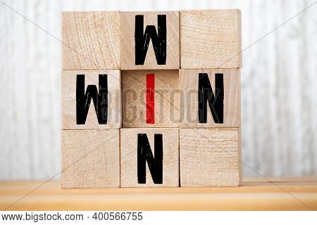 Win Win, Wooden Block With Text. Business Concept. Selective Focus.