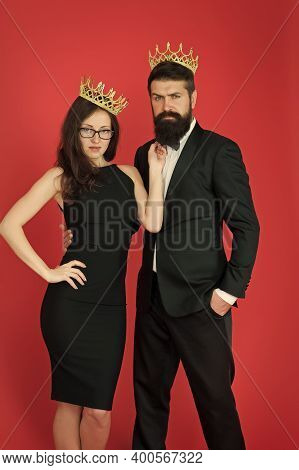 Perfect Match. Elite Society. Being Recognised And Proud. Proud Couple. Woman And Bearded Man Wear C
