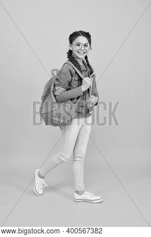 Lets Get Back To Class. Happy Child On September 1. Little Girl Back To School On September 1. Knowl