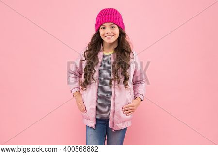 Fashion You Want To Wear. Happy Girl With Fashion Look Pink Background. Little Fashionista In Casual