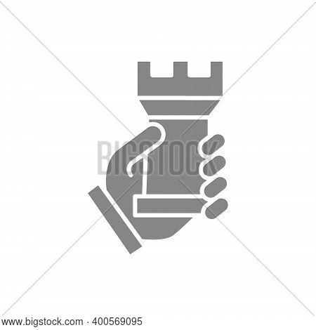 Human Holding Rook Chess Gray Icon. Board Game, Table Entertainment Symbol