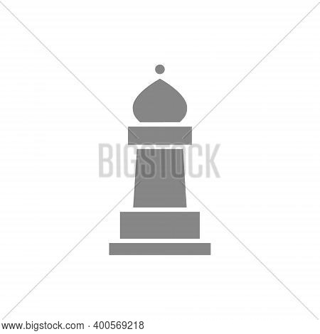Bishop Chess Gray Icon. Board Game, Table Entertainment Symbol