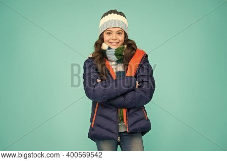 Stylish Protection From Cooler Weather Conditions. Small Girl In Winter Style. Small Child In Fashio