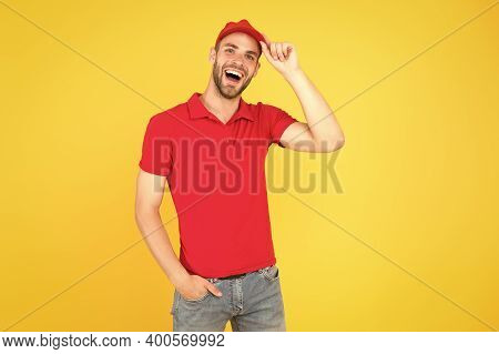 Staff Wanted. Supermarket Cashier. Man Delivery Service Wear Red Cap. Shop Assistant. Food Order Del