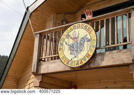 Nederland, Colorado - September 18, 2020: Sign For The Carousel Of Happiness, An Old Fashioned Landm