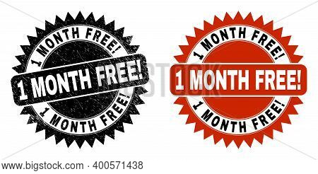 Black Rosette 1 Month Free Exciting Watermark. Flat Vector Distress Watermark With 1 Month Free Exci