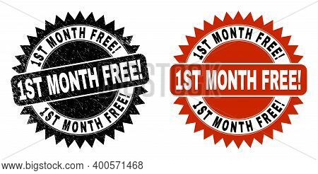 Black Rosette 1st Month Free Exciting Stamp. Flat Vector Textured Seal Stamp With 1st Month Free Exc