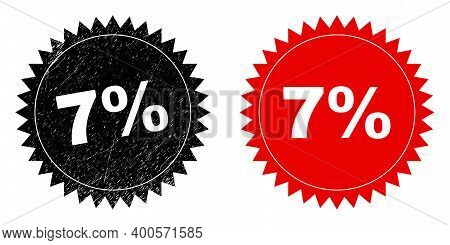 Black Rosette 7 Percent Seal Stamp. Flat Vector Grunge Seal Stamp With 7 Percent Caption Inside Shar
